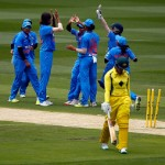 during the women's Twenty20 International match between Australia and India at Melbourne Cricket Ground on January 29, 2016 in Melbourne, Australia.