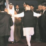 Prime Minister Narendra Modi shakes hands with Sheikh Mohammed bin Zayed Al Nahyan, Crown Prince of Abu Dhabi upon his arrival at Air Force station Palam, in New Delhi on Wednesday. Express Photo By Amit Mehra 11 Feb 2015