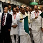 Bengaluru : Union Minister for Parliamentry Affairs Venkaiah Naidu,Karnataka CM Siddaramaiah,Union Minister Ananth Kumar with others flagging off the Underground Metro Route from Cubbon Park-Magadi Road in Bengaluru on Friday. PTI Photo by Shailendra Bhojak(PTI4_29_2016_000278B)