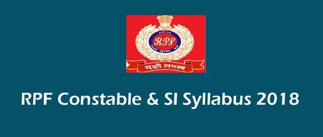 RPF Constable & SI Syllabus 2018